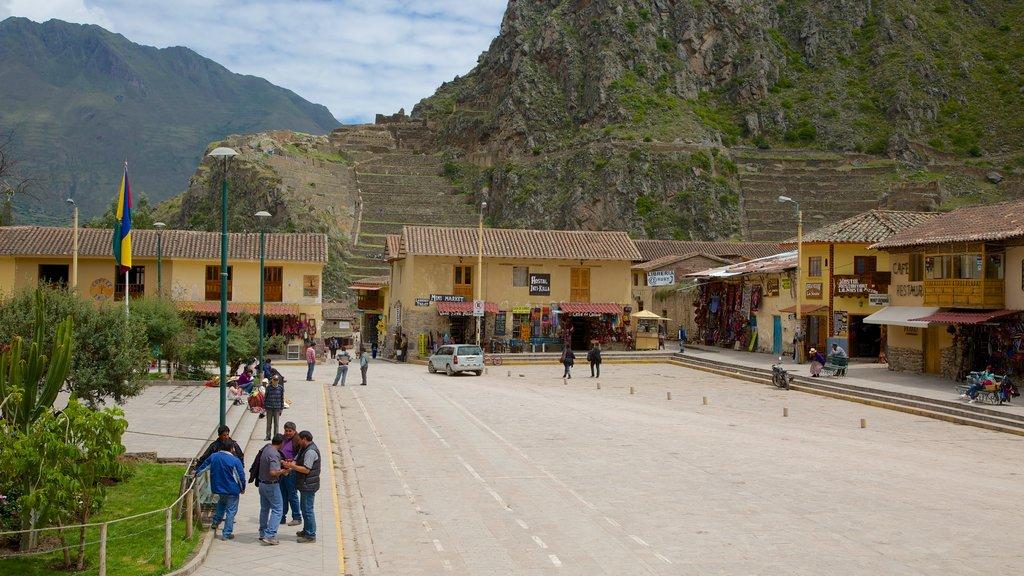 Ollantaytambo que incluye una pequeña ciudad o pueblo y escenas urbanas