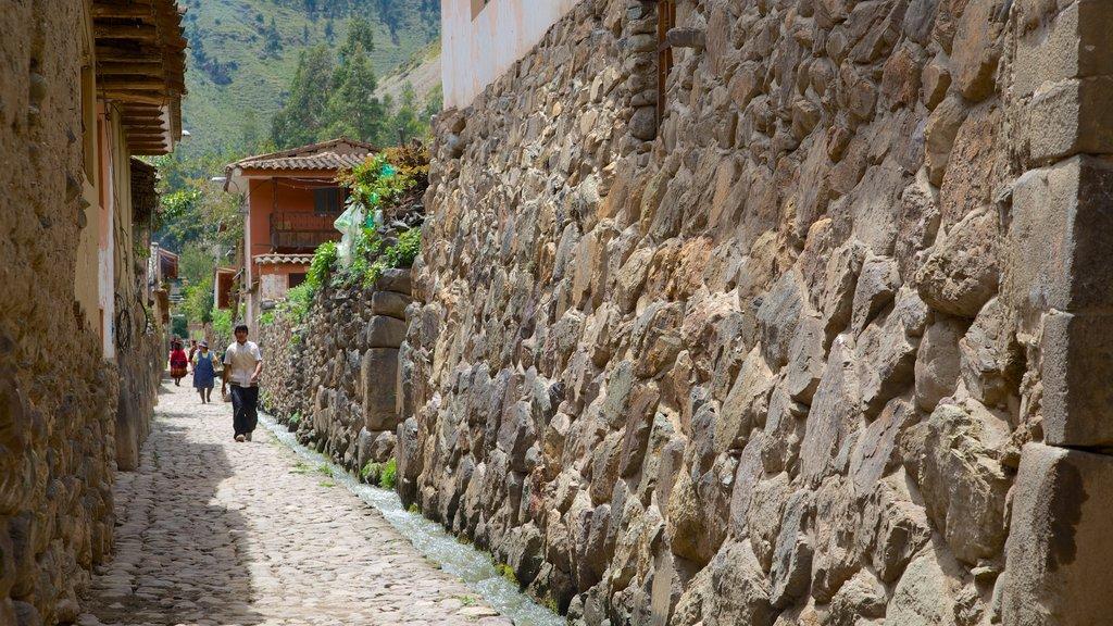 Ollantaytambo que incluye escenas urbanas y una pequeña ciudad o pueblo