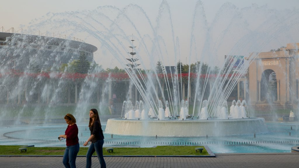 Exposition Park which includes a fountain as well as a small group of people