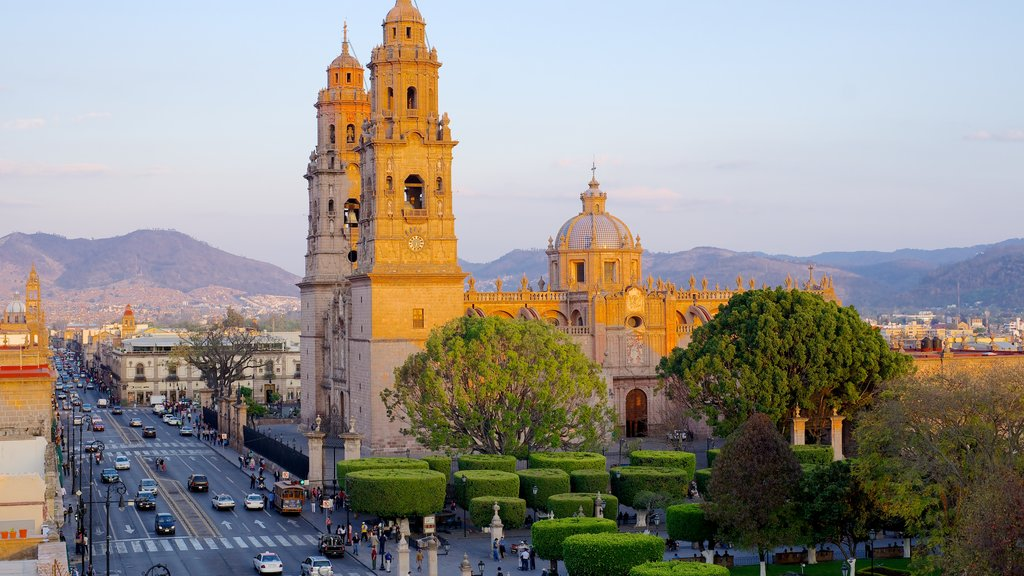 Morelia Cathedral which includes a church or cathedral and a city