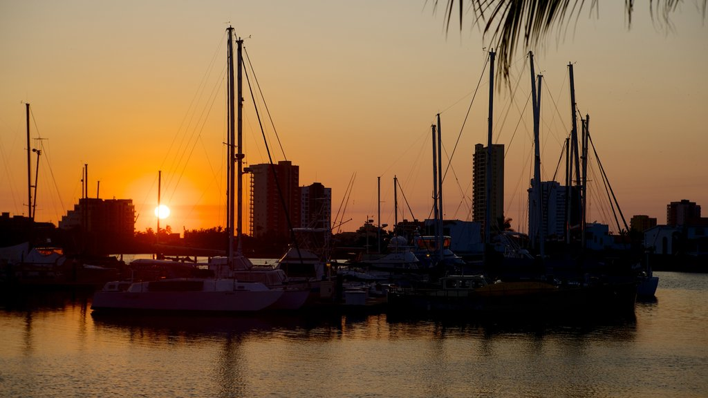 Mazatlan featuring a sunset, a bay or harbor and general coastal views