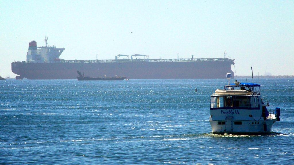 Long Beach ofreciendo vistas generales de la costa y paseos en lancha