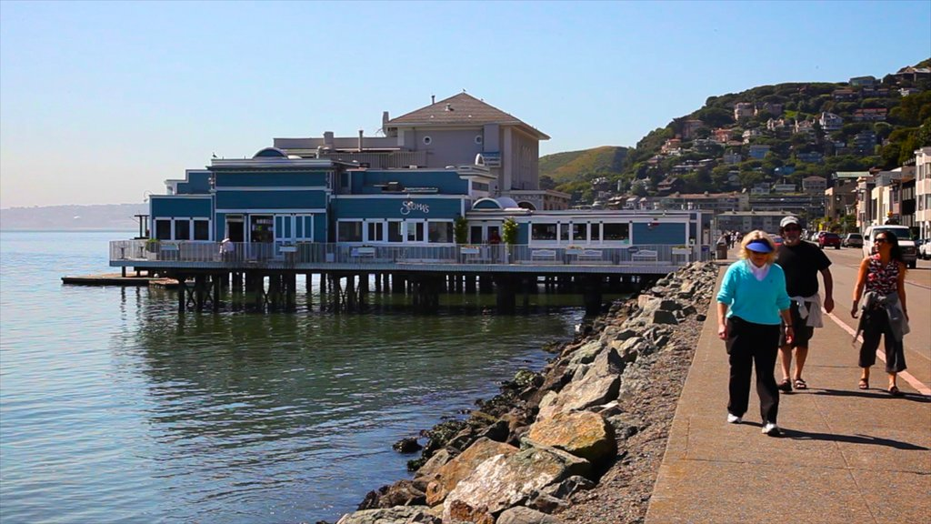 Sausalito featuring general coastal views as well as a small group of people