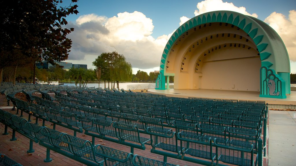 Lake Eola Park showing a park and theater scenes