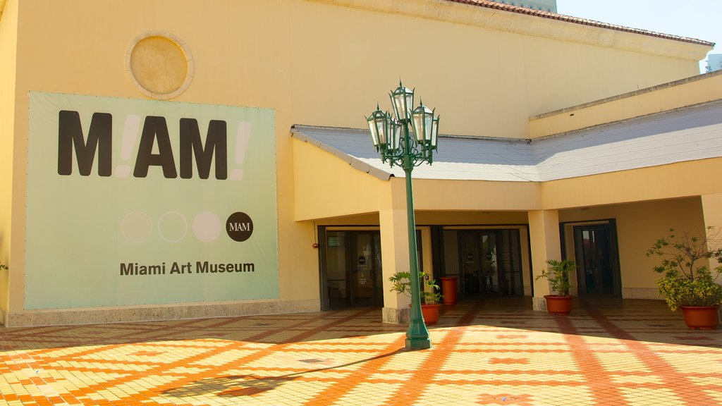 Miami Art Museum featuring signage and a square or plaza