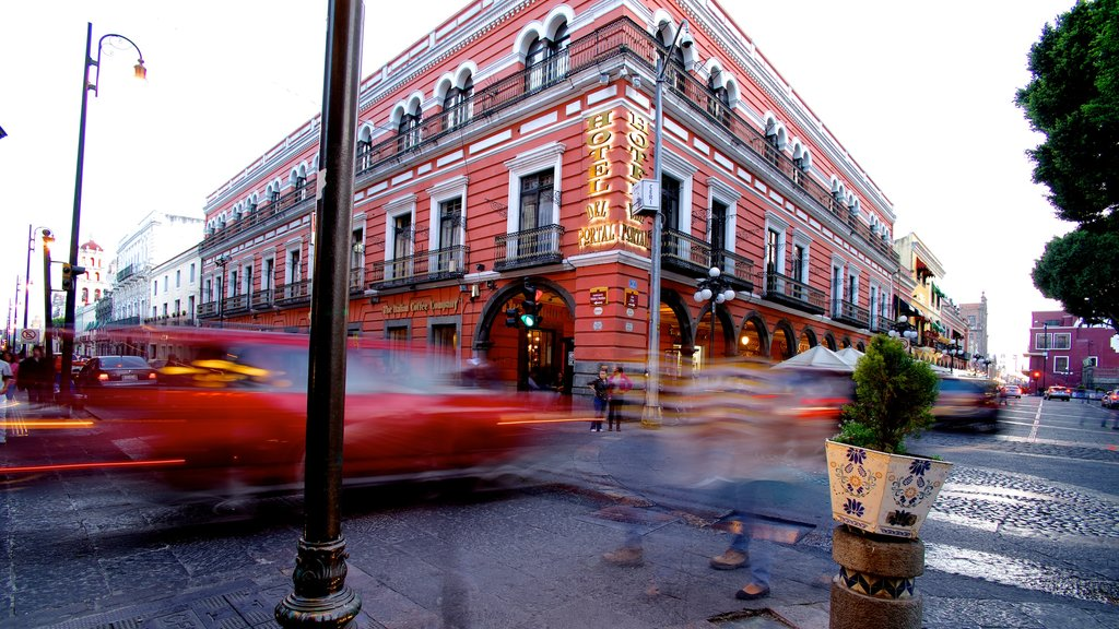 Puebla featuring a hotel, a city and street scenes