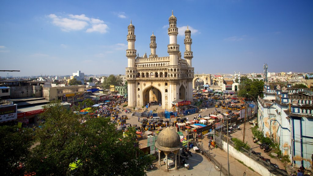 Charminar showing a square or plaza, a city and a monument