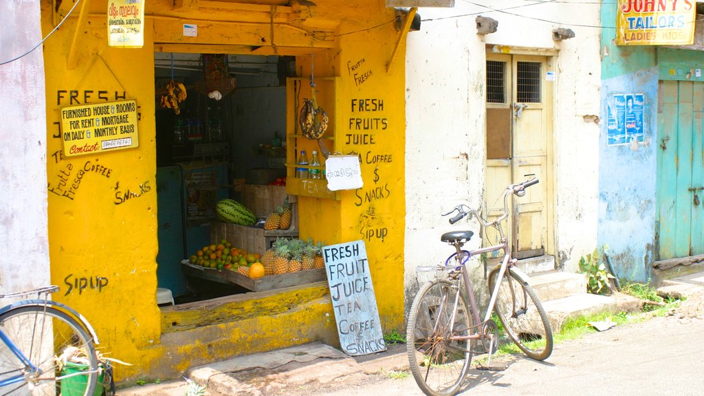 Cochin featuring food, signage and street scenes