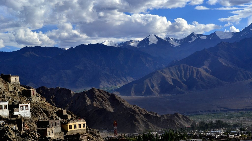 Leh featuring landscape views, a small town or village and mountains