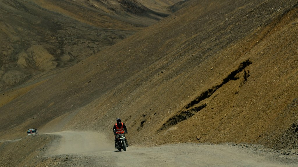Leh featuring motorcycle riding and landscape views