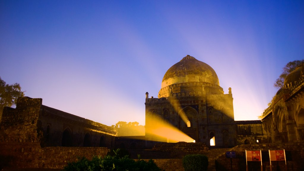 Lodhi Garden featuring heritage elements and a sunset
