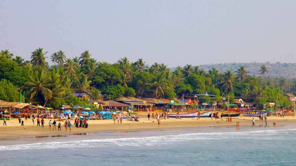 Arambol Beach featuring a coastal town, a beach and landscape views