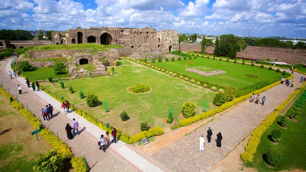 Golconda Fort which includes a park and heritage elements