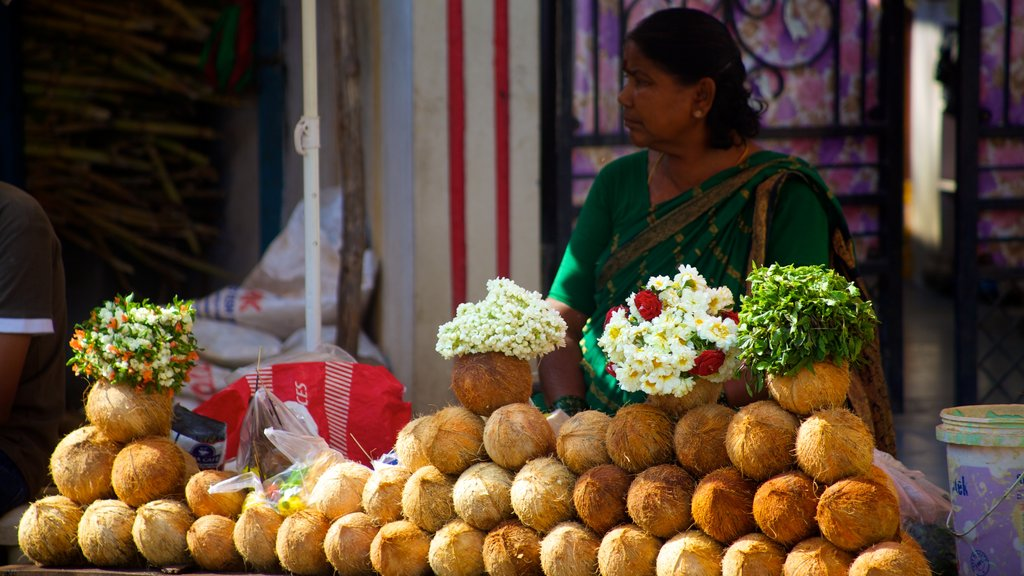 Birla Mandir Temple which includes markets and flowers as well as an individual femail