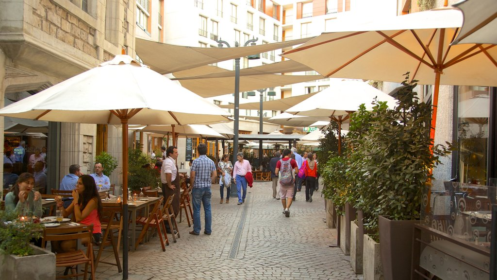 Lastarria which includes cafe lifestyle and street scenes as well as a large group of people