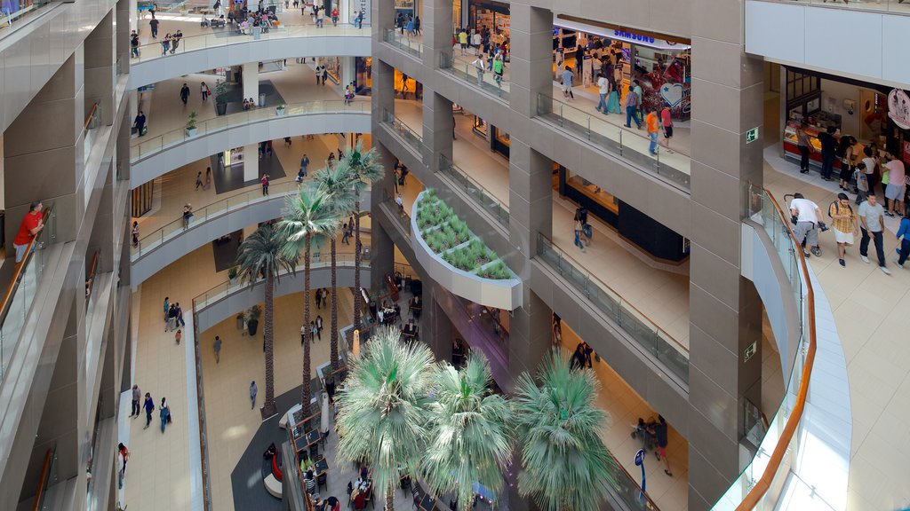 Costanera Center showing interior views and shopping as well as a large group of people