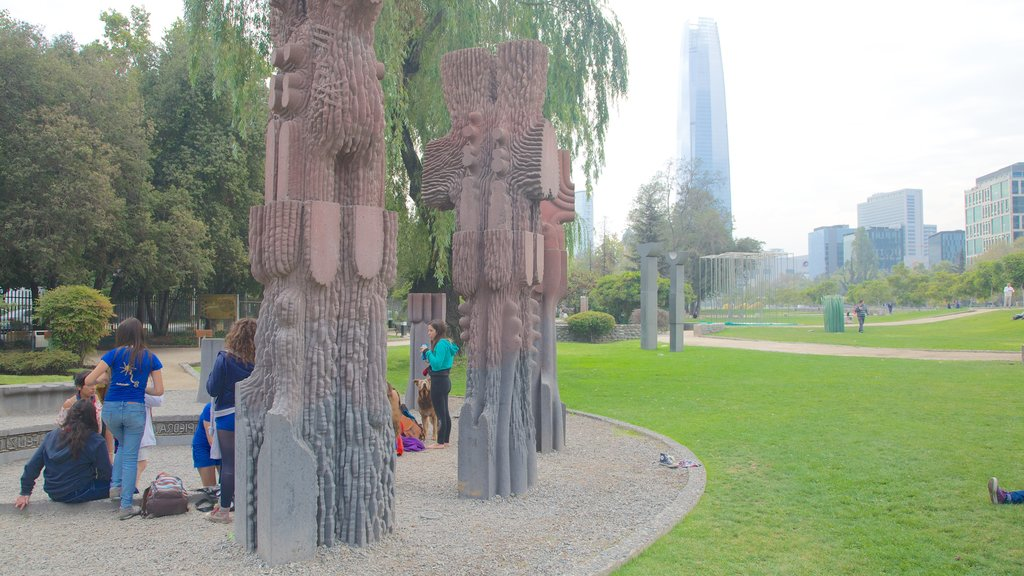 Sculpture Park which includes a park, a city and art