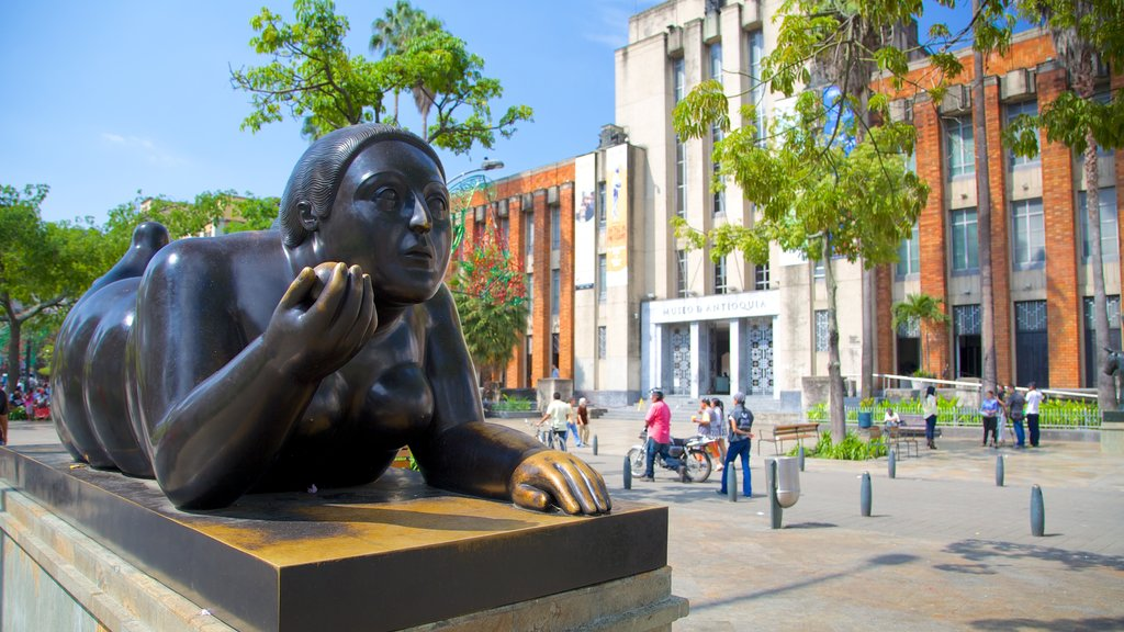Botero Square Sculpture Park which includes a square or plaza and outdoor art