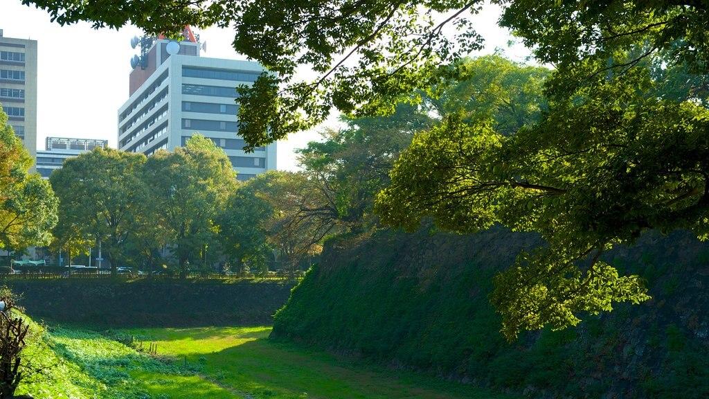 Nagoya Castle featuring a garden