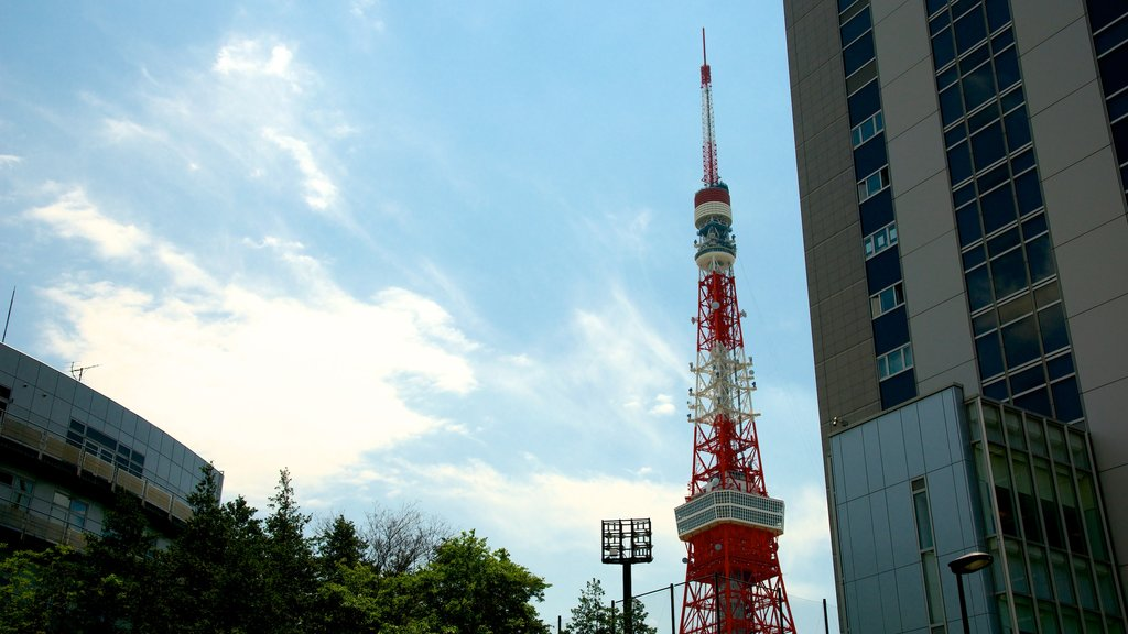 Tokyo Tower which includes modern architecture, a skyscraper and a city