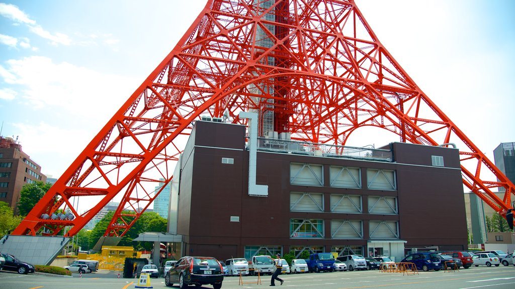 Tokyo Tower which includes a city and street scenes