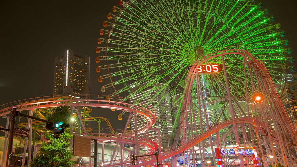 Minatomirai featuring rides, a city and night scenes