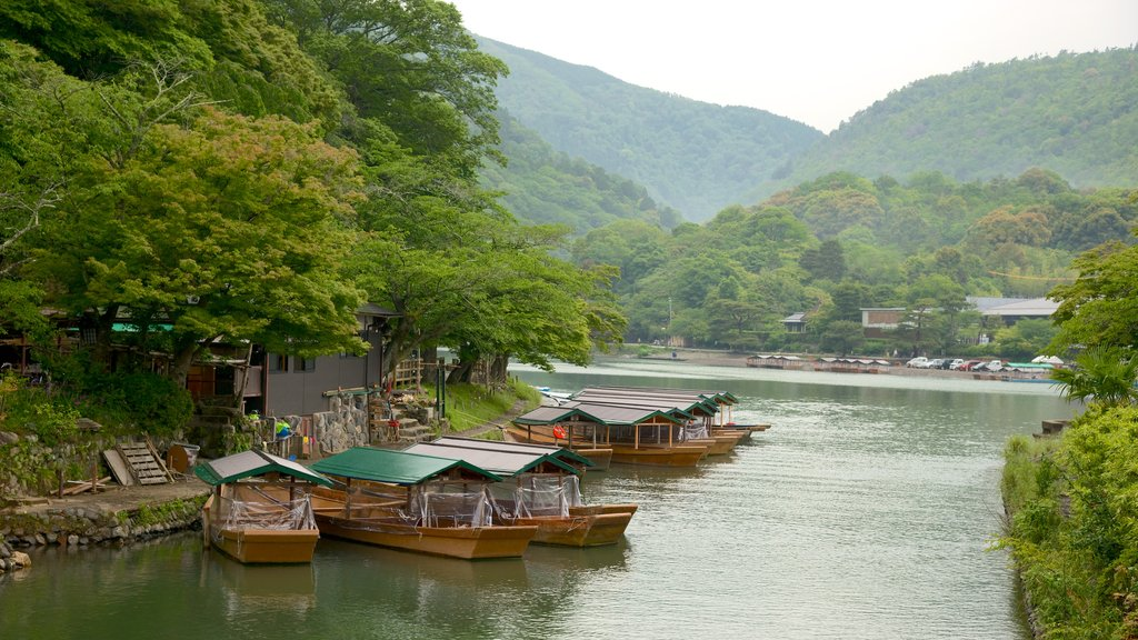 Arashiyama Monkey Park showing landscape views, a river or creek and a small town or village