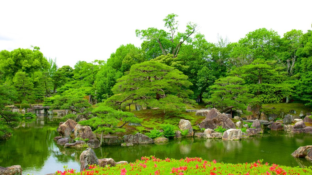 Nijo Castle featuring landscape views, a pond and flowers