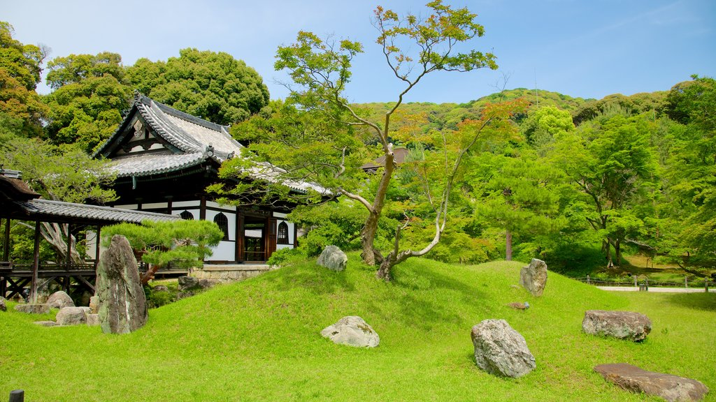 Kodaiji Temple which includes landscape views, a temple or place of worship and religious elements