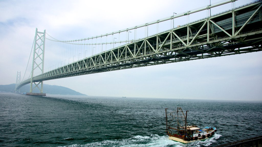Akashi Kaikyo Bridge showing a suspension bridge or treetop walkway, general coastal views and mist or fog