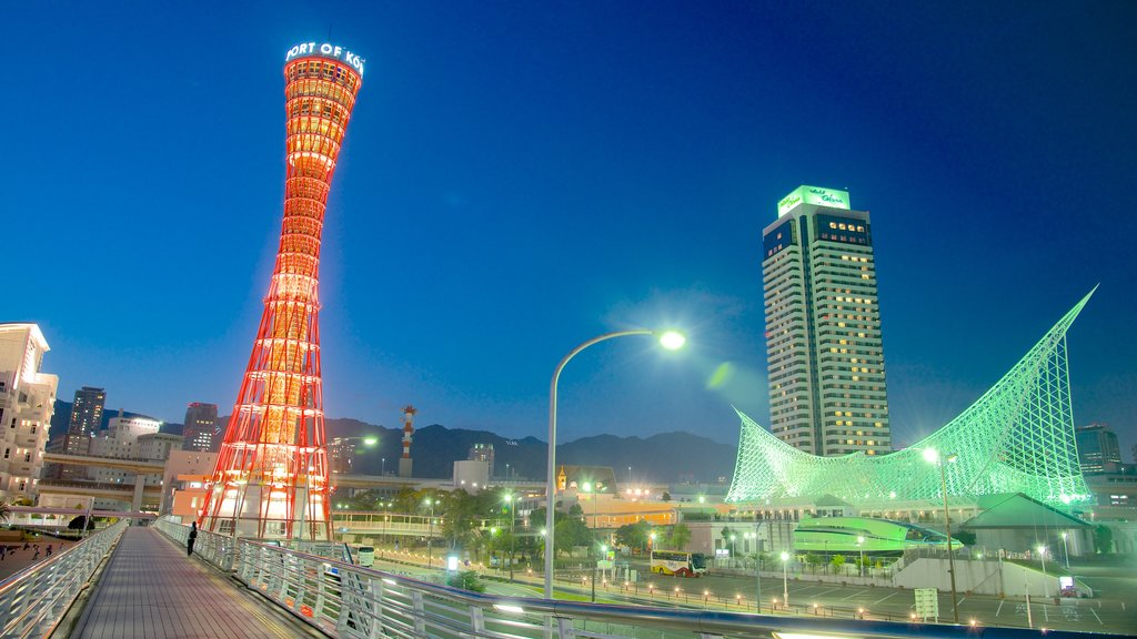 Kobe Tower which includes skyline, modern architecture and night scenes