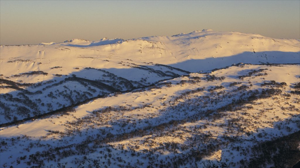 Snowy Mountains which includes landscape views, snow and mountains