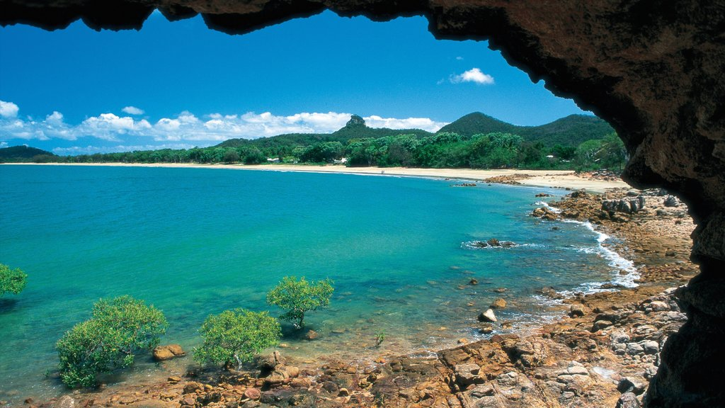 Mackay which includes landscape views, a sandy beach and rugged coastline