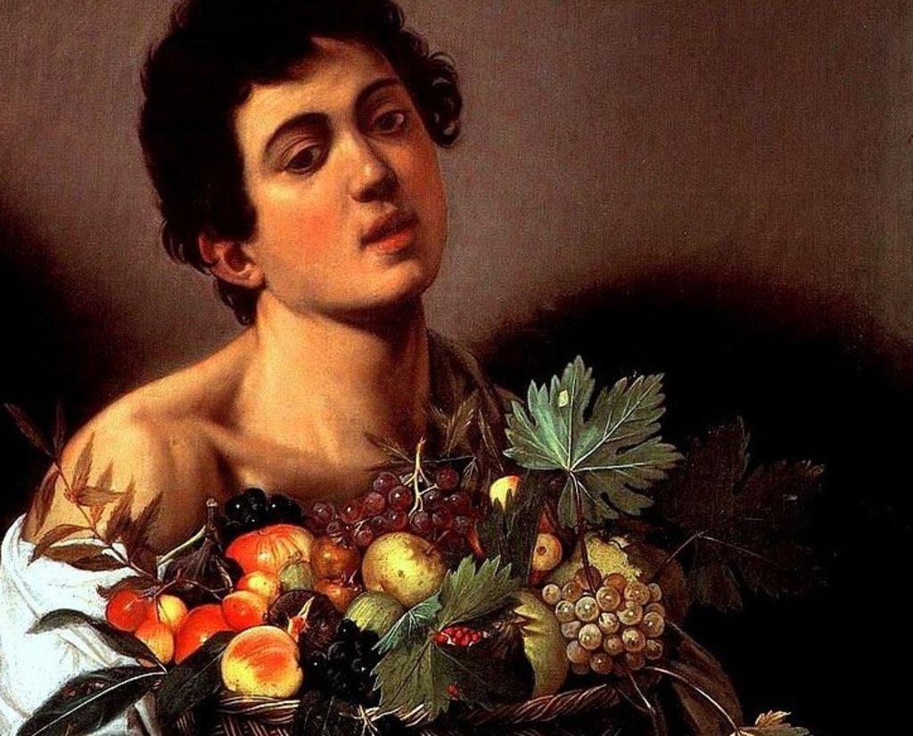 Giovane con canestra di frutta, particolare.
