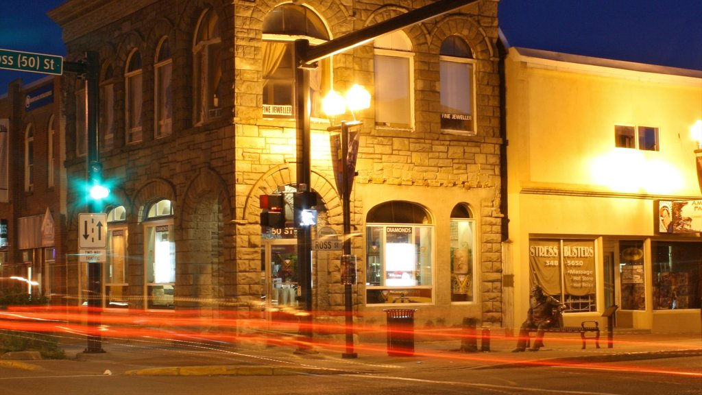 Red Deer featuring heritage architecture, street scenes and night scenes