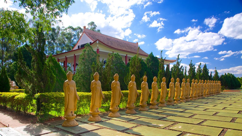 Buddhist Temple showing religious elements, a temple or place of worship and heritage architecture
