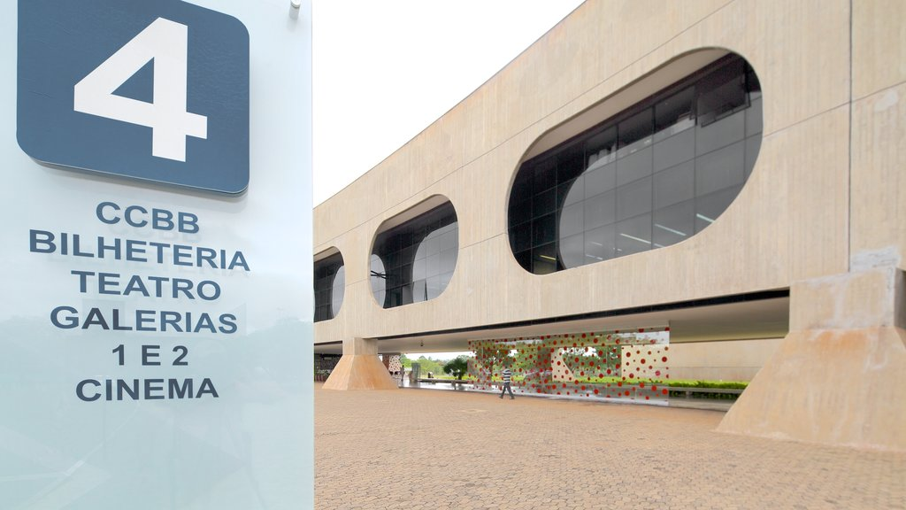 Bank of Brazil Cultural Center which includes a city, signage and modern architecture