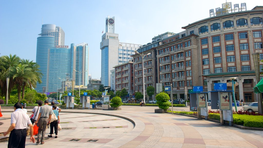 Xiamen showing modern architecture, a skyscraper and street scenes