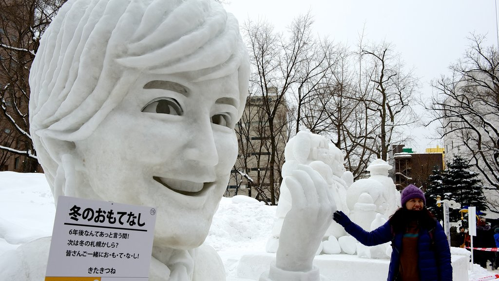 Sapporo which includes snow and outdoor art