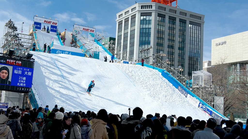 Sapporo featuring snow skiing, a city and a sporting event
