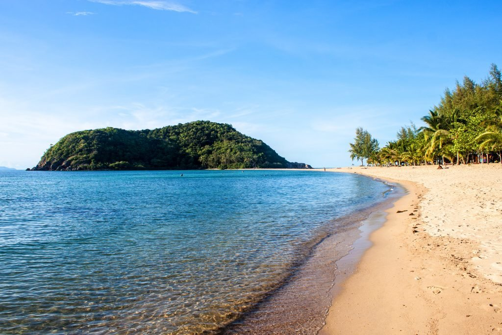 Mae Haad beach and Koh Ma islet on Koh Phangan island, Thailand