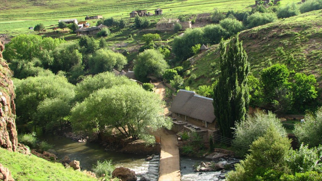 Lesotho which includes a small town or village