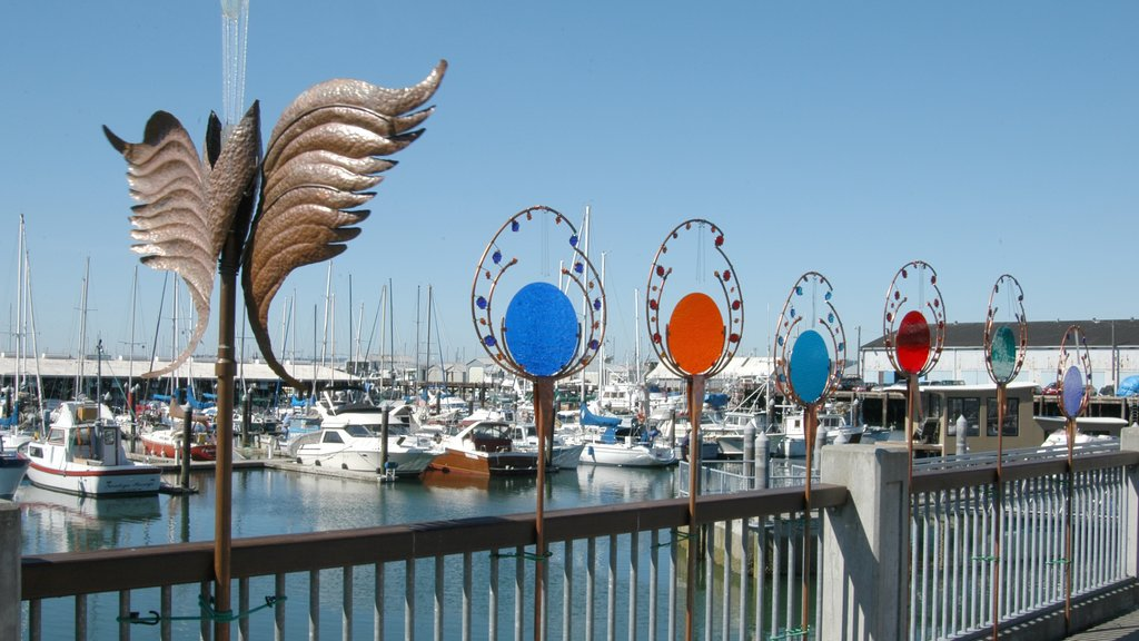 Everett featuring a marina and outdoor art