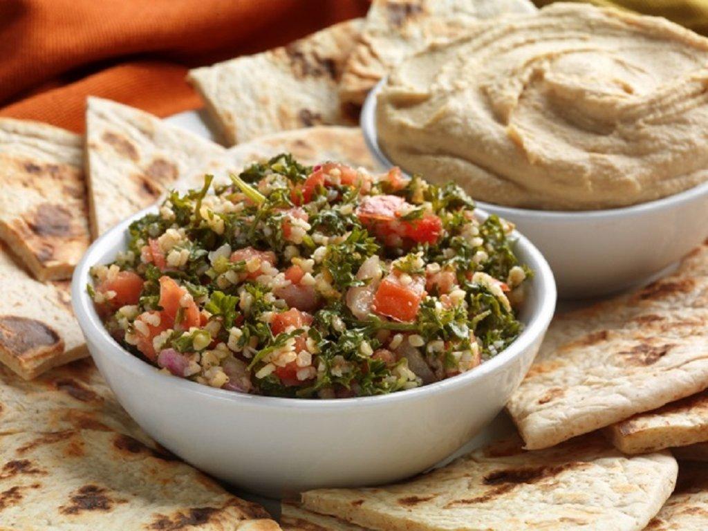 Turkish dishes - hummus and tabouli