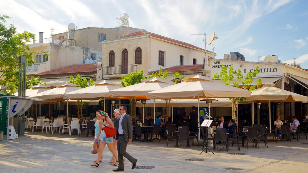 Limassol Castle featuring street scenes and outdoor eating