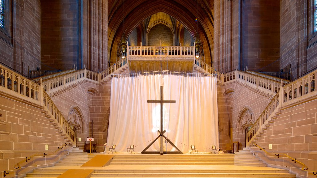 Liverpool Anglican Cathedral featuring religious elements, interior views and a church or cathedral