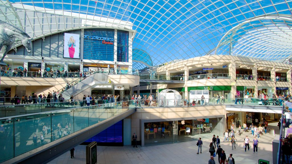 Trinity Leeds Mall showing street scenes, interior views and modern architecture