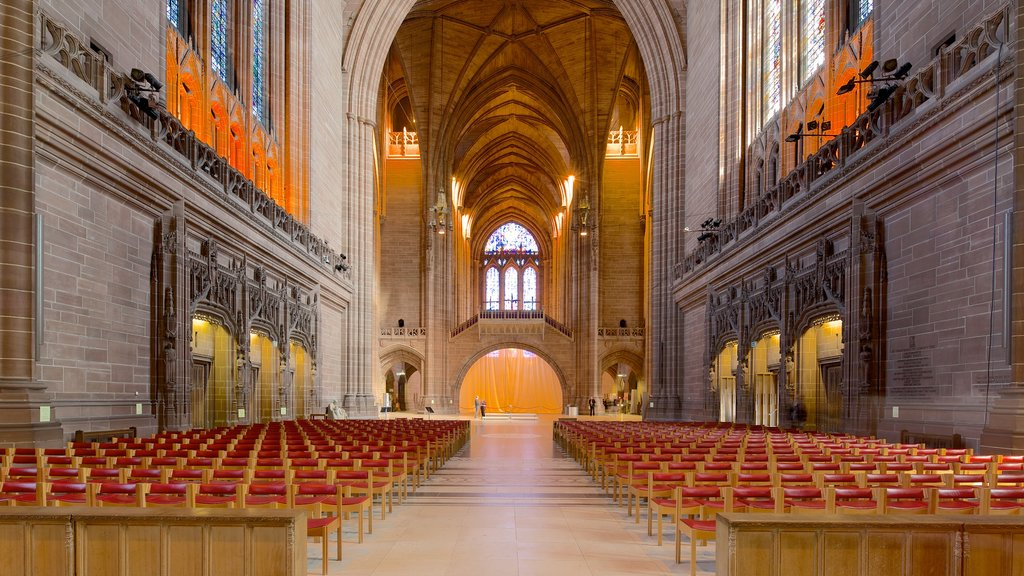 Liverpool Anglican Cathedral featuring a church or cathedral, religious elements and interior views
