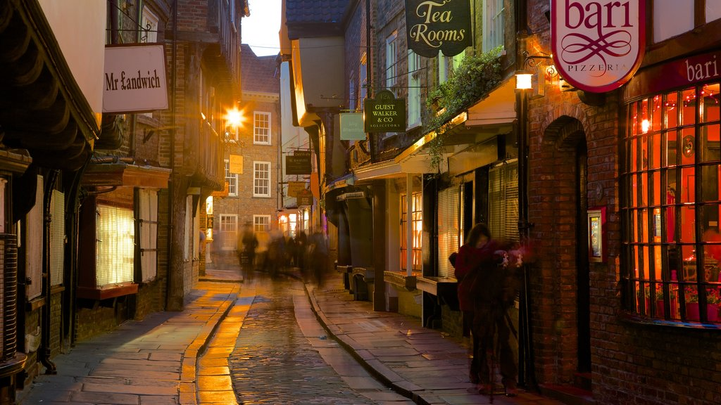 Shambles which includes street scenes and heritage architecture