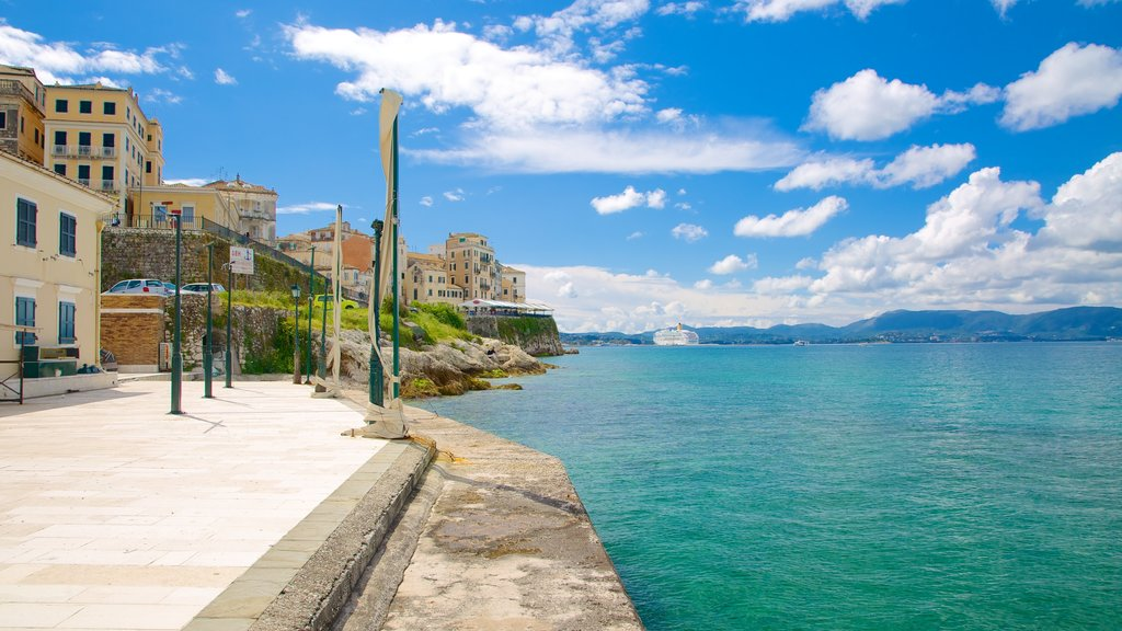 Port of Corfu which includes a coastal town and general coastal views